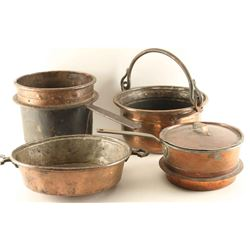 Lot of Antique Copper Kitchen Pots