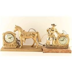 Lot of 2 Western Clocks & Horse Figurine