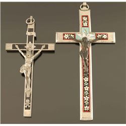 Lot of 2 Large Cross Pendants