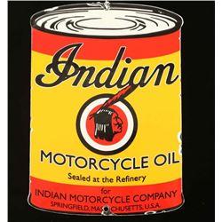 Vintage Indian Motorcycle Oil Porcelain Sign