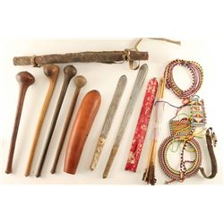 Collection of Masai Spears, Knives, Misc.