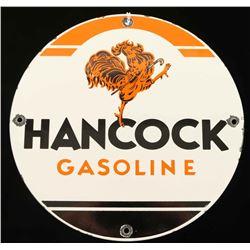 Vintage Hancock Gasoline Porcelain Sign