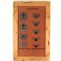 Framed Miltary promotion patches