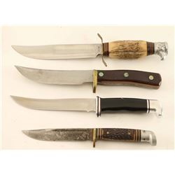 Lot of 4 Hunting Knives