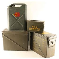 Lot of 3 Ammo Cans & Gas Can