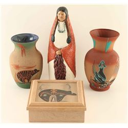 Lot of 3 Navajo Sandpainted Items