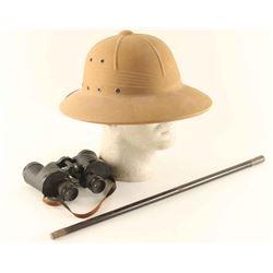 USMC Pith Helmet, Binoculars and Swagger Stick