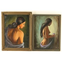 Lot of 2 Original Oils on Canvas by Vicente
