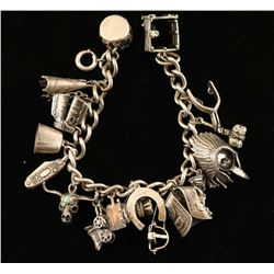 Western Themed Sterling Silver Charm Bracelet