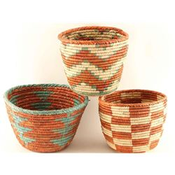 (3) Large Southwest Olla Shaped Baskets
