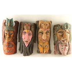 Lot of 4 Carved Wooden Masks