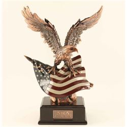 Copper Eagle w/ American Flag Sculpture