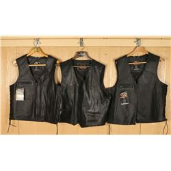 Lot of 3 Mens Black Leather Vests