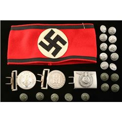 German WWII Buckles, Arm Band & Buttons