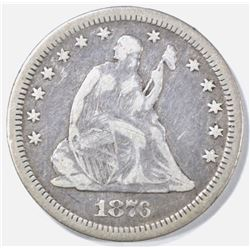 1876-CC SEATED LIBERTY QUARTER FINE