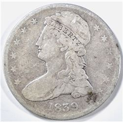 1839 REEDED EDGE BUST HALF DOLLAR VF
