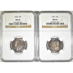 1956 & 58 WASHINGTON QUARTERS NGC GRADED, COLOR