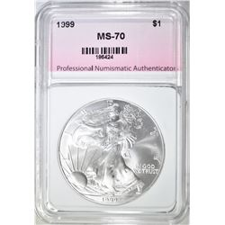 1999 AMERICAN SILVER EAGLE PNA PERFECT GEM BU