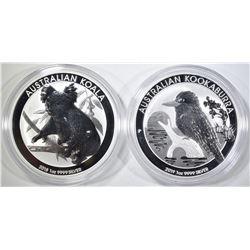 2018 KOALA, 2019 KOOKABURRA SILVER AUSTRALIA COINS
