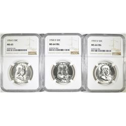 3 NGC FRANKLIN HALVES