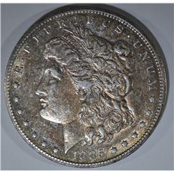 1885-CC MORGAN DOLLAR  AU TONED