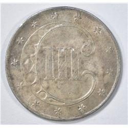 1852 3 CENTS SILVER  AU