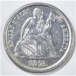 1875 SEATED LIBERTY DIME  AU