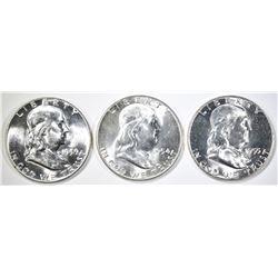LOT OF 3 FRANKLIN HALF DOLLARS:  1954 BU,