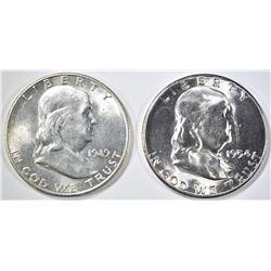 1949-S AU & 1954-S GEM BU FRANKLIN HALF DOLLARS