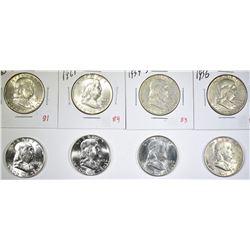 LOT OF 8 FRANKLIN HALF DOLLARS:  1948-P & D,