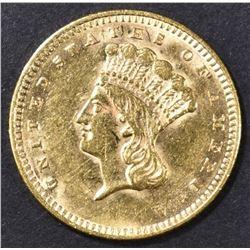 1861 $1 GOLD INDIAN PRINCESS  CH AU