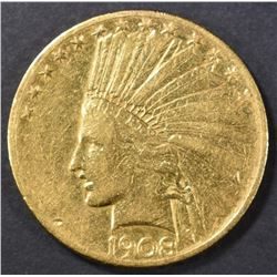 1908-S $10 GOLD INDIAN HEAD W/ MOTTO XF