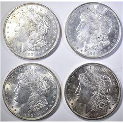 (4) 1921 MORGAN DOLLARS  CH BU