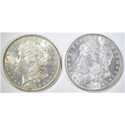1883-O & 1885-O MORGAN DOLLARS, CH BU