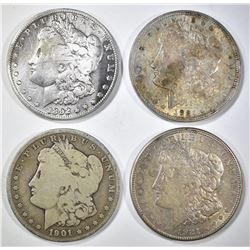 4-CIRC LOW GRADE MORGAN DOLLARS SOME PROBLEMS