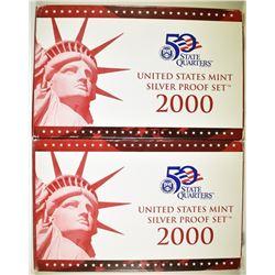 2-2000 U.S. SILVER PROOF IN ORIG BO/COA