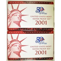 2-2001 U.S. SILVER PROOF SETS IN ORIG BOX/COA