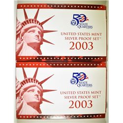2-2003 U.S. SILVER PROOF SETS IN ORIG BOX/COA