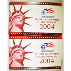 2-2004 U.S. SILVER PROOF SETS IN ORIG BOX/COA