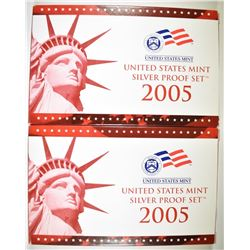 2-2005 U.S. SILVER PROOF SETS IN ORIG BOX/COA