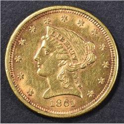 1861 $2.5 GOLD LIBERTY  NICE ORIG UNC