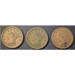 (2) 1848, (1) 1856 LARGE CENT  VF/VF+