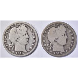 2-1913 BARBER QUARTERS, GOOD & VG