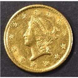 1849-O  GOLD $1 LIBERTY HEAD  BU  OLD CLEANING
