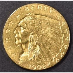1908 GOLD $2.50 INDIAN HEAD  CH BU