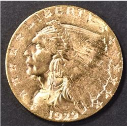 1929 GOLD $2.50 INDIAN HEAD CH/GEM BU