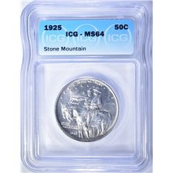 1925 STONE MOUNTAIN COMMEM HALF DOLLAR  ICG MS-64