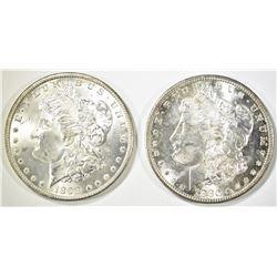 1880-S & 98-O MORGAN DOLLARS CH BU