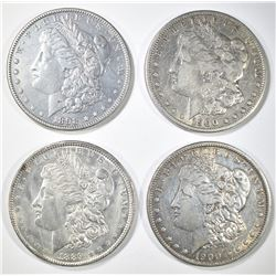 4 CIRC MORGAN DOLLARS 1889, 98, 2 1900-O