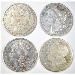 4 CIRC MORGAN DOLLARS 1882-O, 98, 1900-O, 01-O